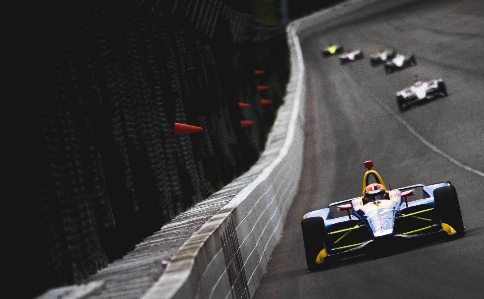 Alexander Rossi ahead in 2018 Pocono IndyCar race