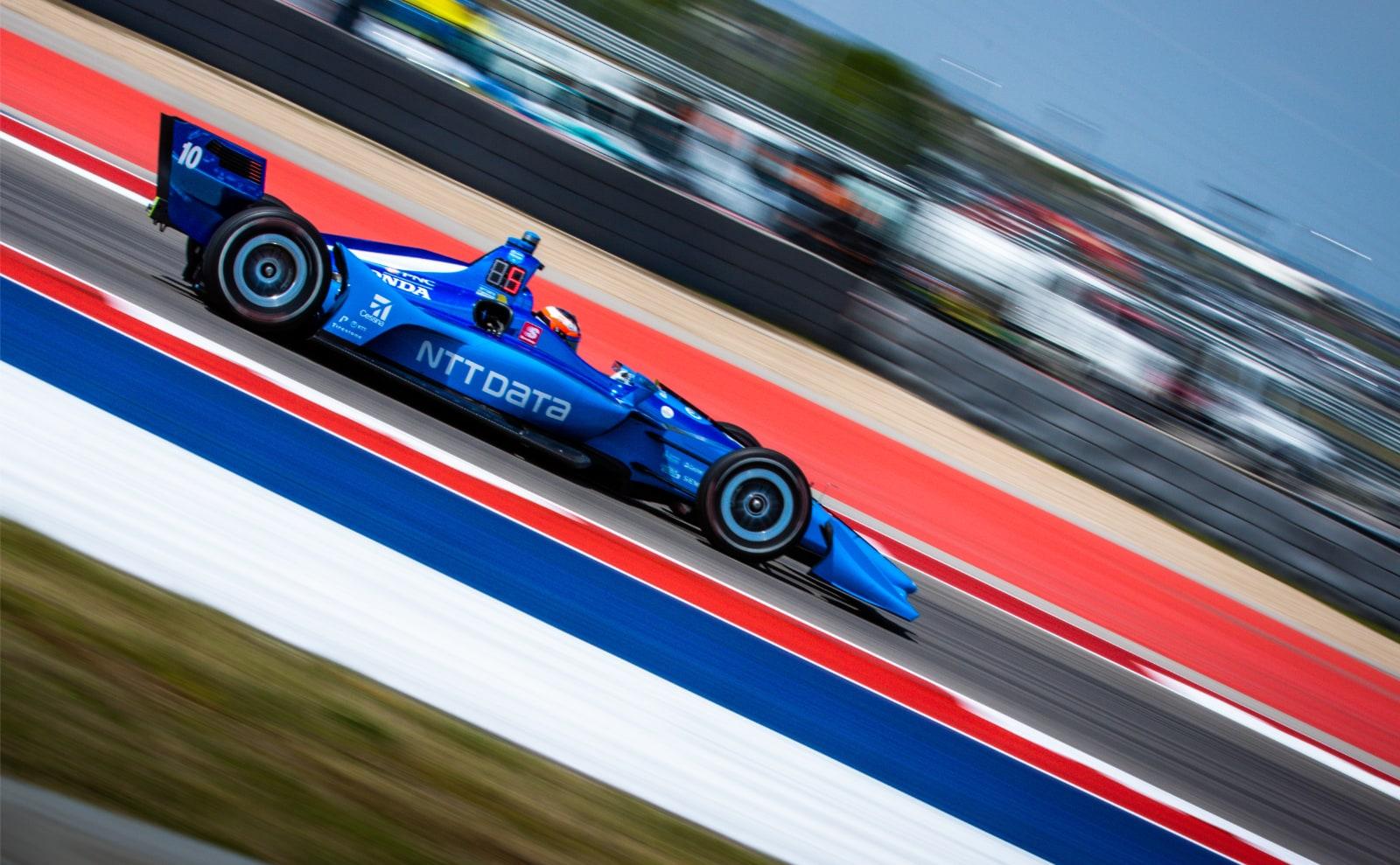 Felix Rosenqvist laps COTA in Ganassi Honda Indy car
