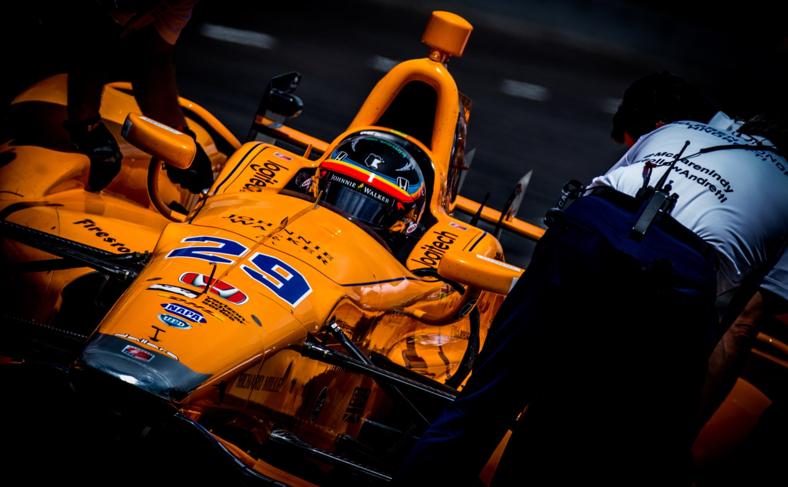 Fernando Alonso exits Indy 500 pit lane in McLaren