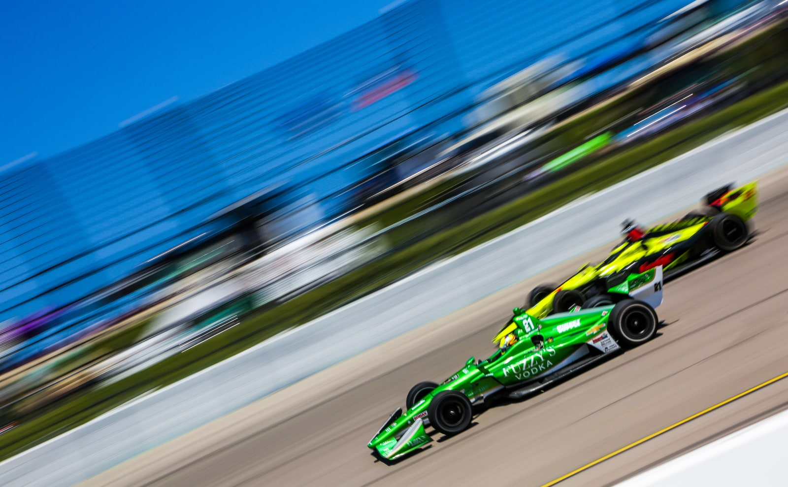 Bourdais passed by Pigot during 2018 IndyCar race at Iowa