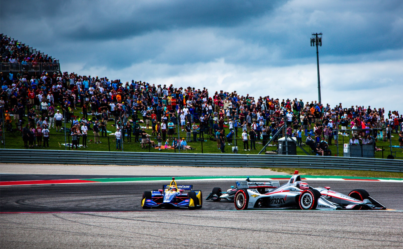 Will Power chased by Alexander Rossi and Colton Herta in COTA IndyCar race