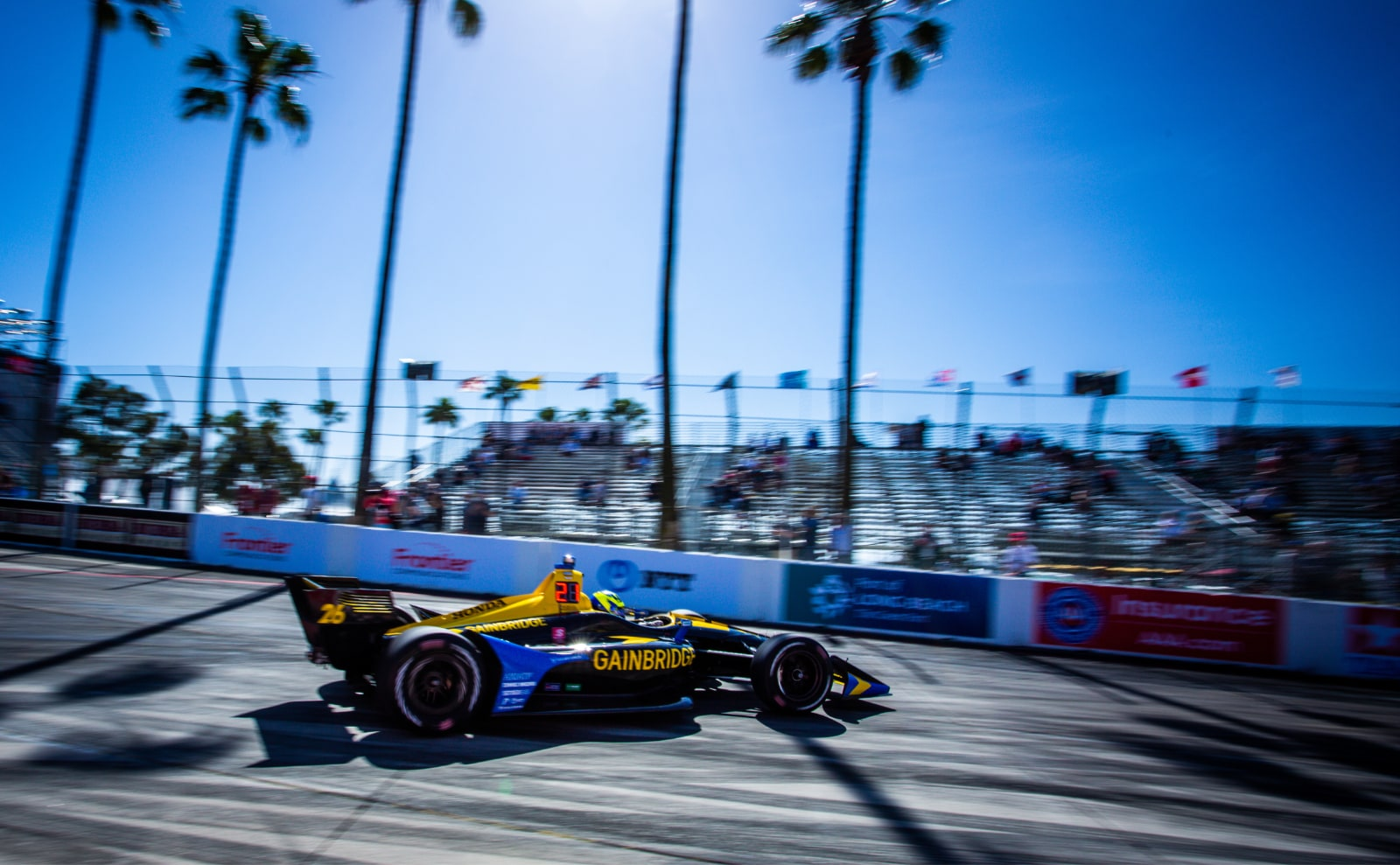 Zach Veach starts down Long Beach front straight in 2019 Acura GP of Long Beach practice