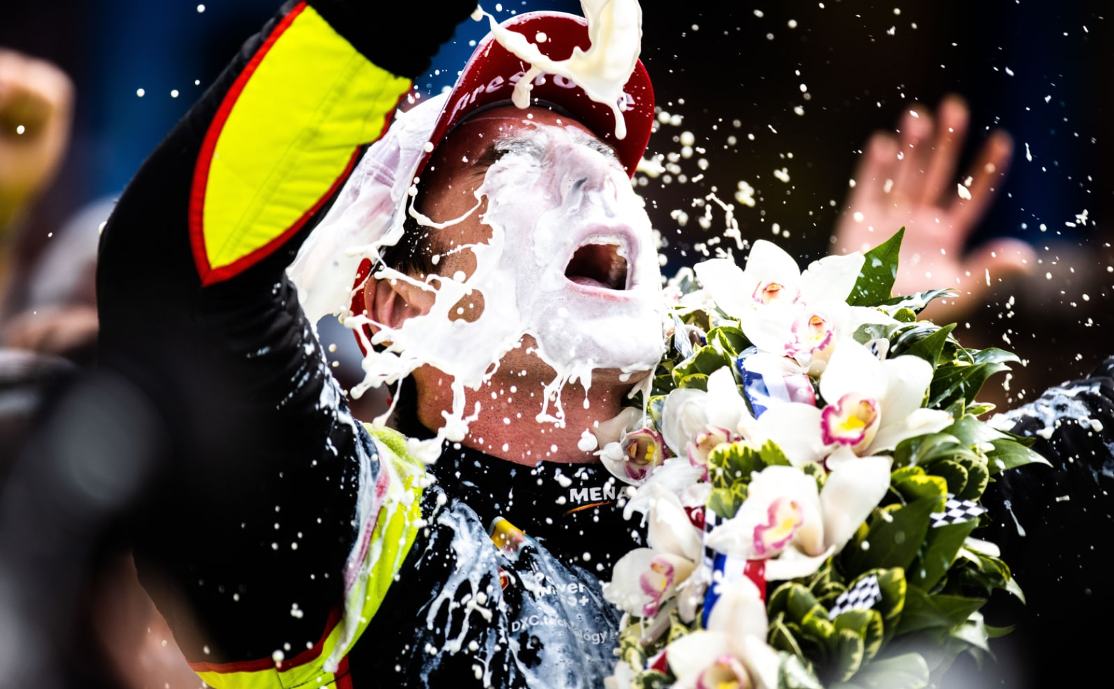 Simon Pagenaud pours milk on himself in Indy 500 victory circle