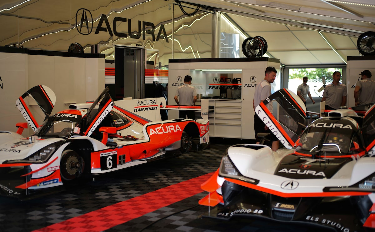 Acura Team Penske garage on setup day Watkins Glen 2019