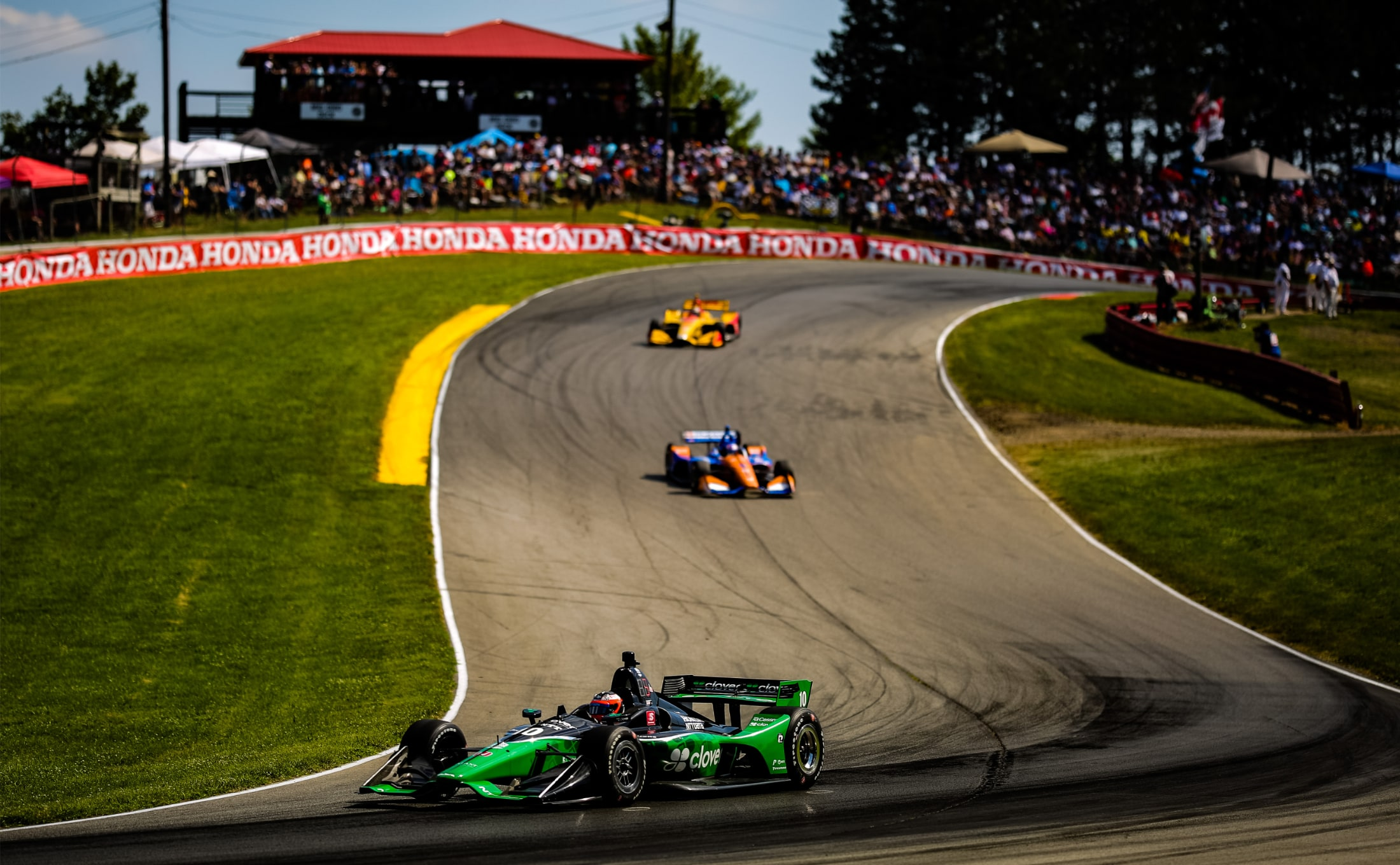 Felix Rosenqvist in Clover Ganassi Honda Indy car at Mid-Ohio