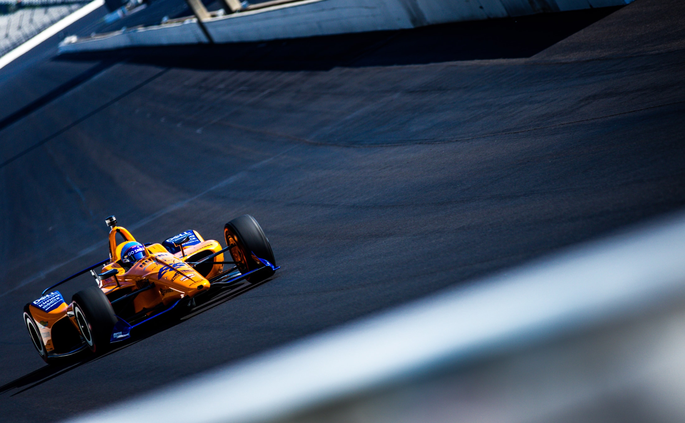 Fernando Alonso sails into IMS Turn 1 in Indy 500 practice