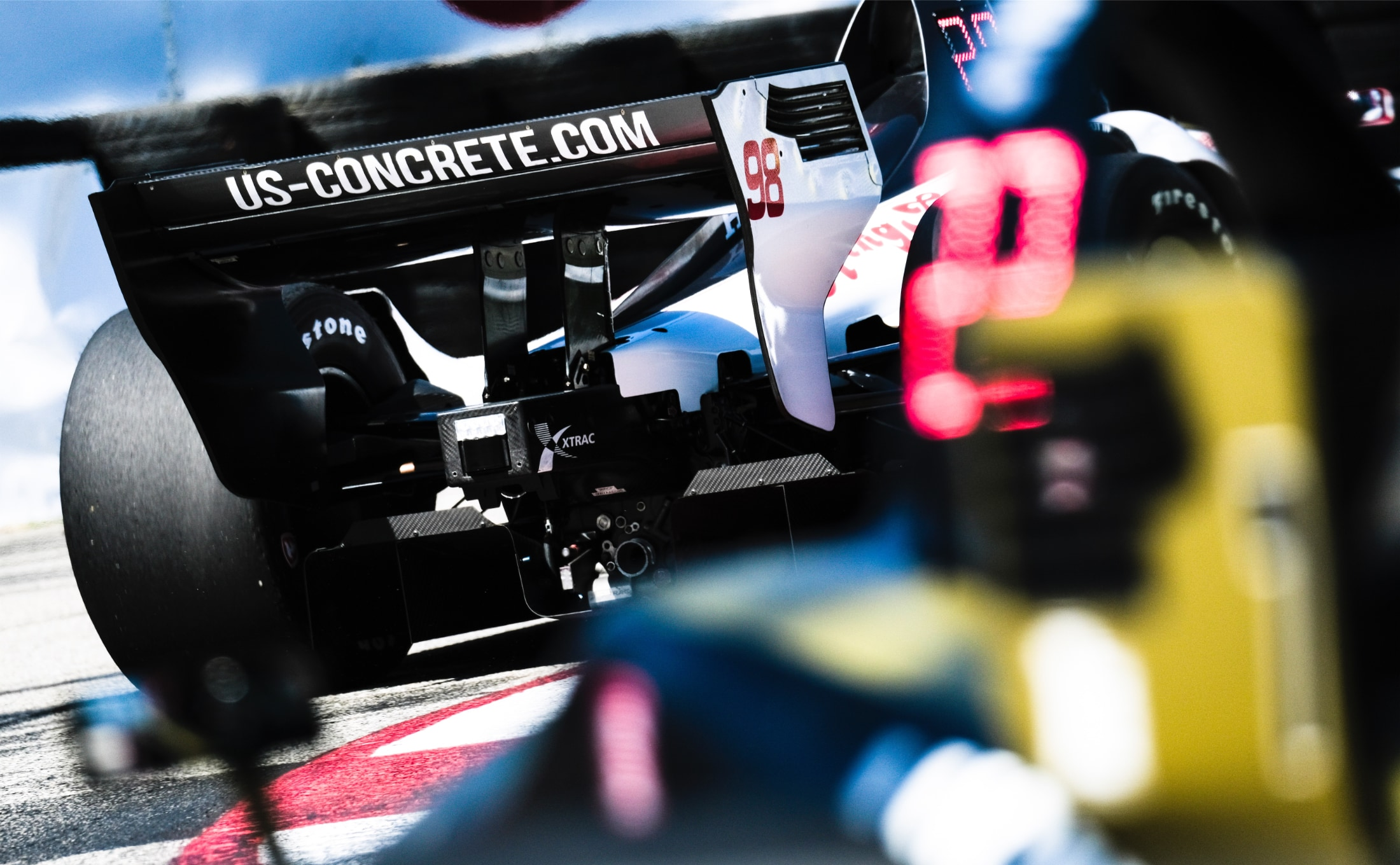 LED panel on Marcus Ericsson's Indy car at Long Beach