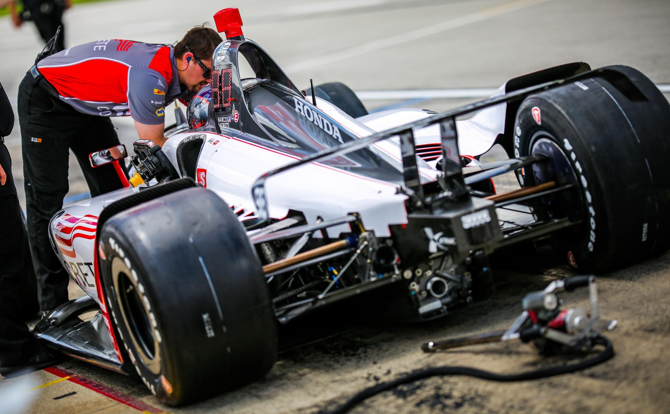 Marco Andretti strapped into U.S. Concrete Andretti Indy car at Texas