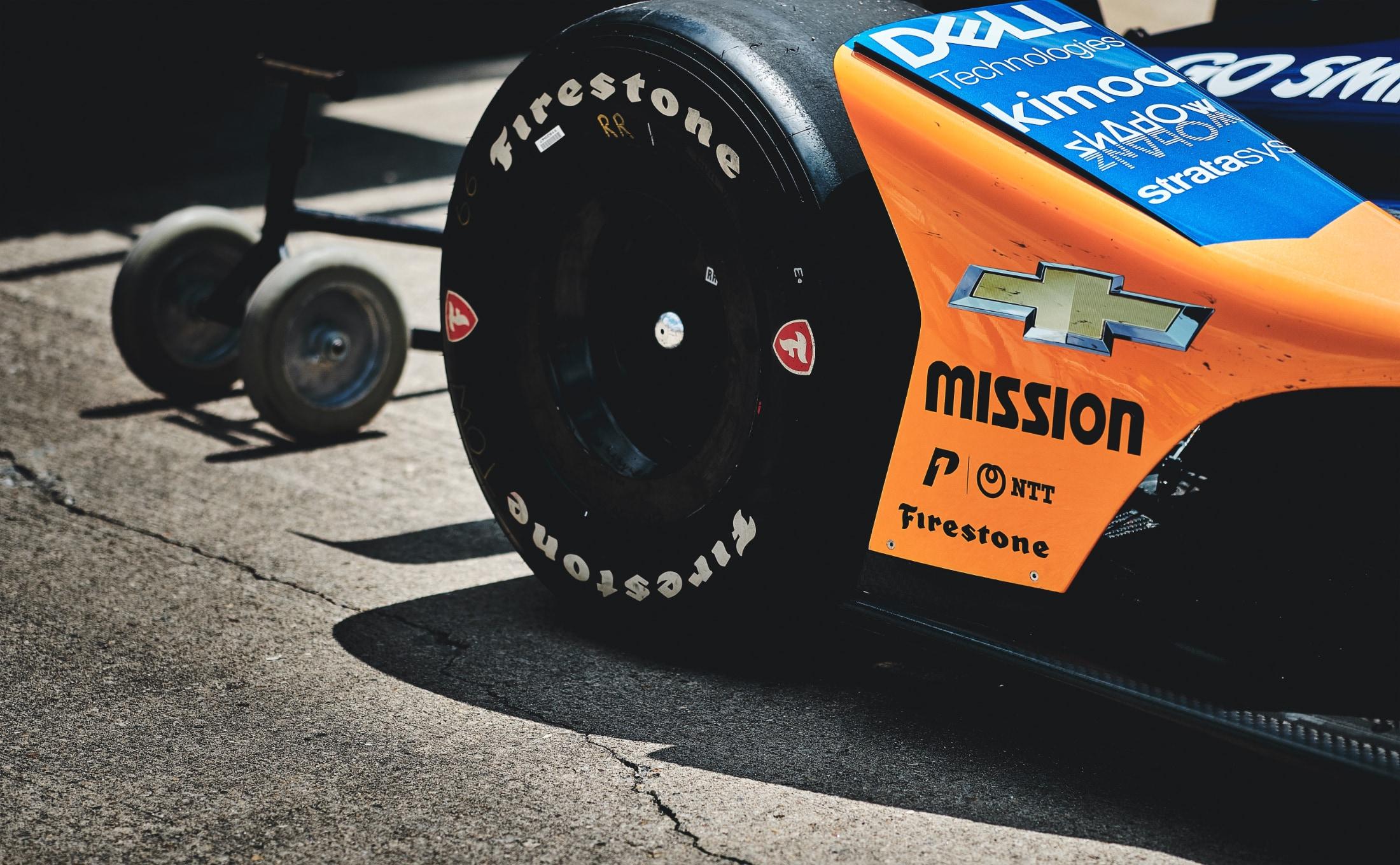 Fernando Alonso McLaren Indy 500 car in IMS pit lane