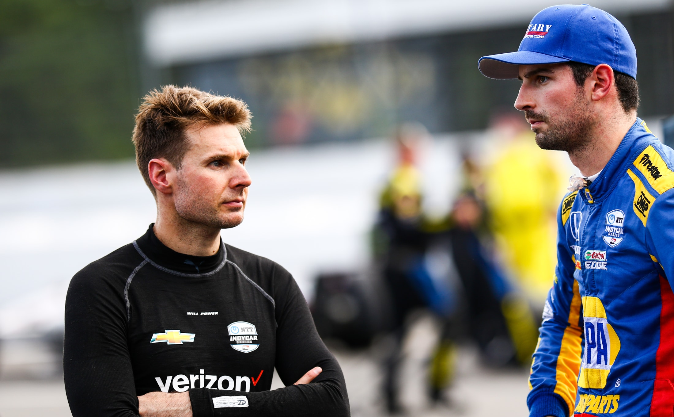 Will Power with Alexander Rossi before 2019 IndyCar race at Pocono