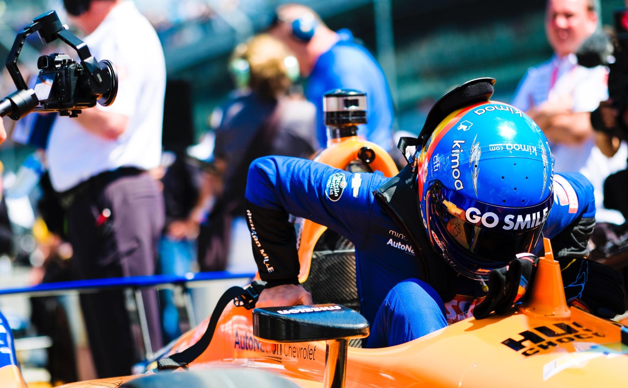 Fernando Alonso climbs into McLaren Indy 500 car