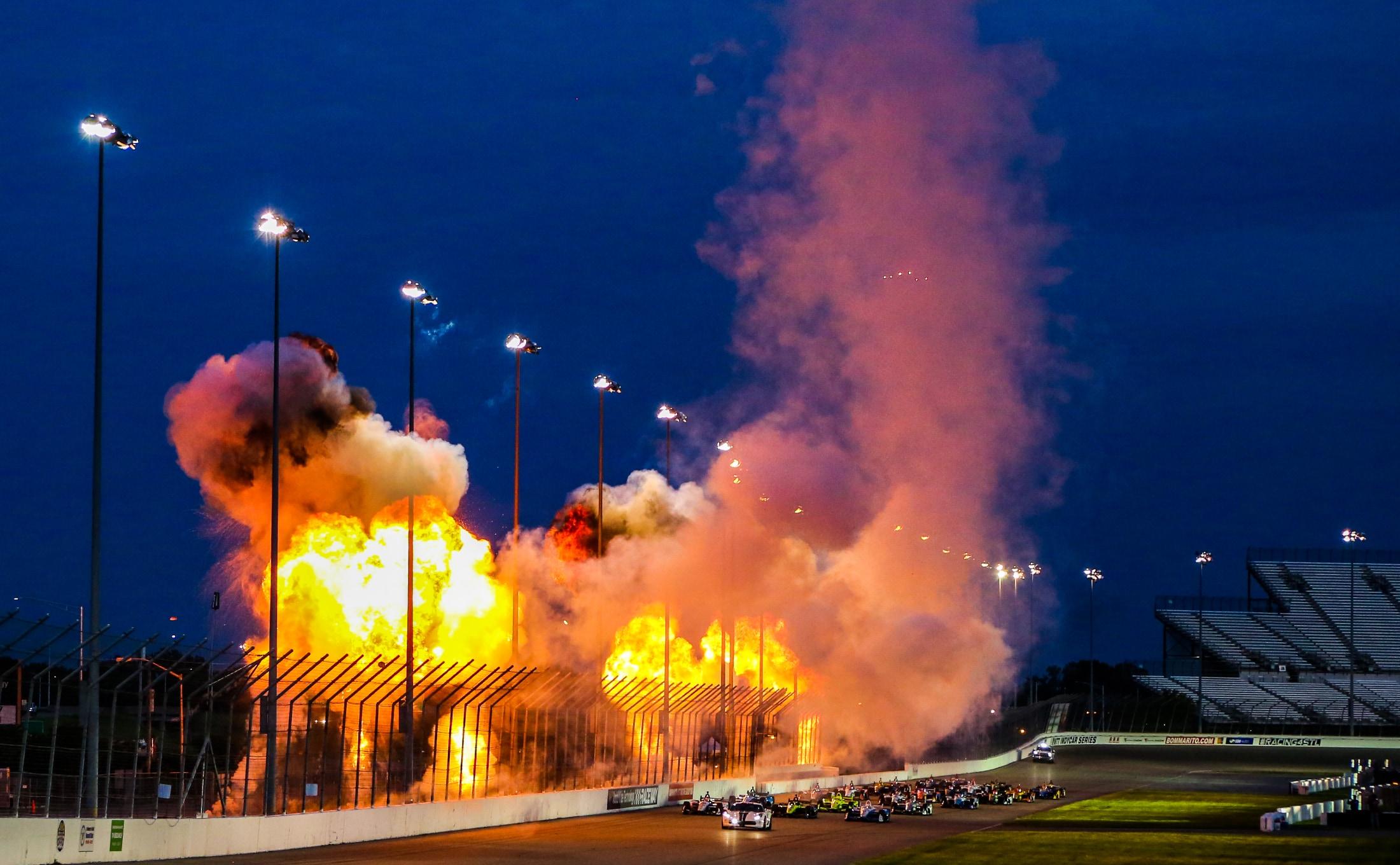 Fire display before 2019 Gateway IndyCar race start
