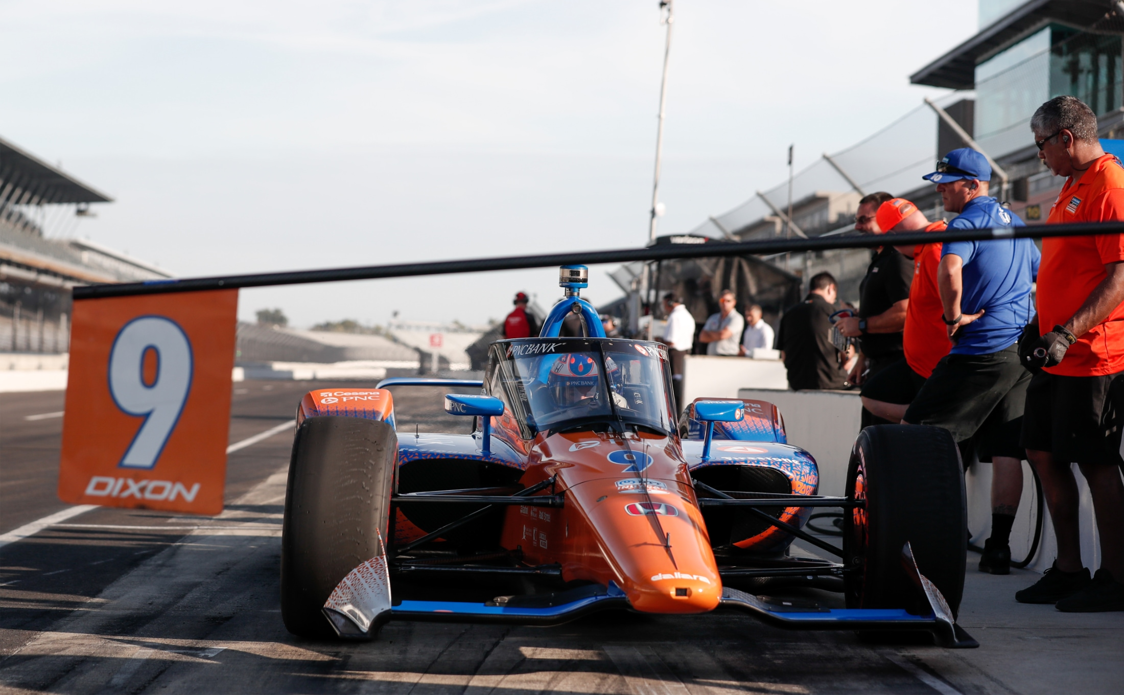 Scott Dixon leaves IMS pits in first Aeroscreen test