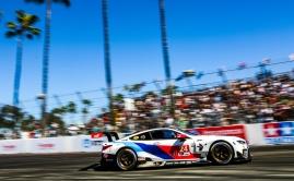BMW M8 GTE exits Long Beach hairpin in 2019 IMSA race