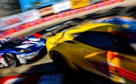 Ford GT through Long Beach hairpin with Corvette IMSA car