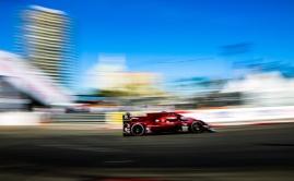 Mazda DPi rounds Long Beach Turn 10 in 2019 WeatherTech race
